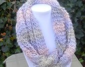 Hand Knit Infinity scarf - Hand Knit eternity scarf- Hand Knit cowl scarf - Light weight scarf -spring scarf - womens scarf-scarves