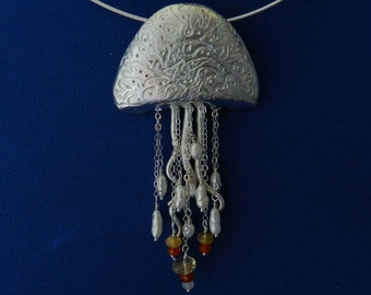 New! Jellyfish in Fine Silver with Fire Opals and Freshwater Pearls
