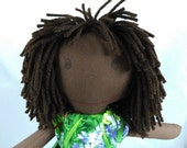 READY TO SHIP Rag doll with brown hair, dark skin tone,Removable Clothes,Cloth Doll,Plush Toy,Soft Doll,Fabric Doll,Stuffed Doll
