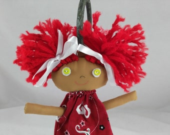 University of Oklahoma Backpack Buddy, Rag Doll,  Cloth Doll, Plush Toy, Soft Doll, Fabric Doll, Pocket Doll
