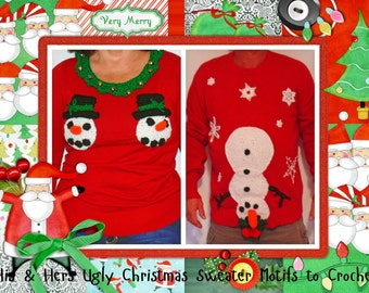His and Her Ugly Christmas Sweater Motifs INSTANT DOWNLOAD - PDF