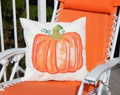 """Porch pillow PUMPKIN ships tomorrow 20"""" (40x50cm) indoor outdoor Thanksgiving autumn fall decor Crabby Chris Original"""