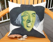 "WICKED WITCH of the WEST Halloween outdoor pillow 20"" (50x50cm) indoor-outdoor autumn fall decor Crabby Chris Original"