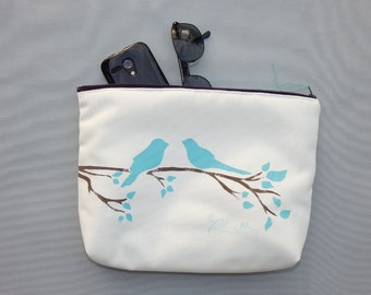 "EVERYTHING BAG Birds Branch zippered case tablet cosmetic makeup 9""x12""x2.5"" travel pouch toiletry purse organizer painted washable clutch"