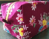 large make up / cosmetic bag - floral in burgundy, pink, yellow and red