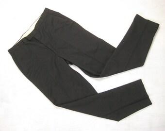 1960s Koratron Slim Slacks Vintage Retro Black Permanent Press Blend Tapered Mod Pants Trousers Size 32 x 31 Small S