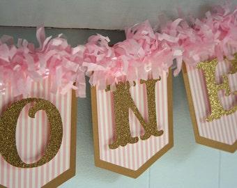 I Am One Banner - 1st Birthday Banner - Pink and Gold Banner - Photo Prop - Birthday Garland - Glitter Banner - One Banner