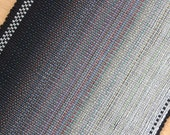 Cotton Rag Rug Runner / Ombre Black to White Rug 2 x 6 Rug Runner
