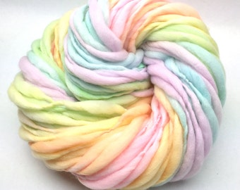 Self striping pastel rainbow yarn handspun thick and thin in merino wool - 65 yards, 4.05 ounces/ 115 grams