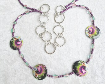 Strut Your Stuff Peacock Diva Necklace - Lovely - Charming - Peacock Shell Beads - Ooak - Purple Magnesite Beads - Classy - Chic Diva - Gift