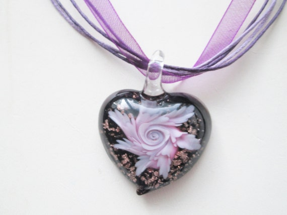 You Had Me at Hello - Purple Glass Heart Pendant - Purple Organza Ribbon Necklace - Chic and Classy - Feminine - Purple Diva Lover - Gift