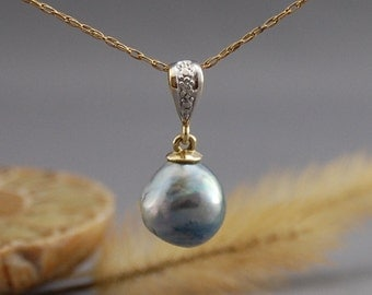 Ada - Rare South Sea pearl pendant, necklace, diamond accent, wedding, anniversary, pearl jewelry, for her, gift idea, woman, Bride, fashion