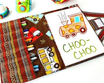 Brown Cars Crayon Artist Case, Ready to ship, Art wallet, Crayon bag, Travel art toy, Crayon tote, Crayons and paper pad included