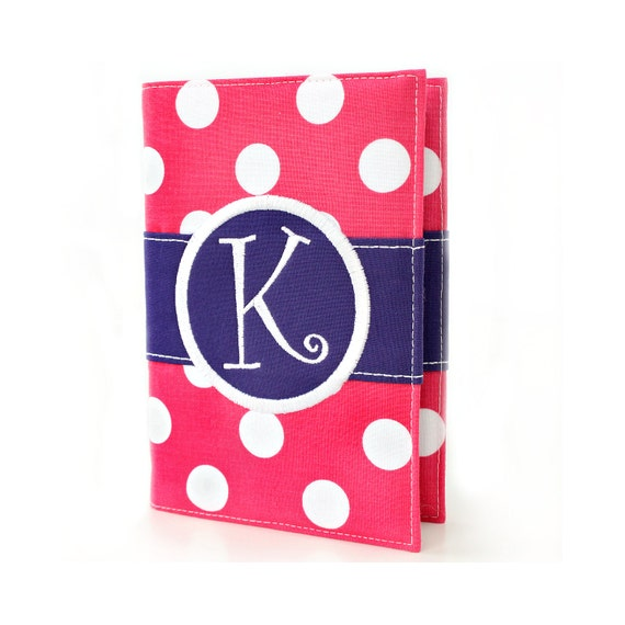 Raspberry Big Dots Personalized Journal - You select, fabric, frame, and font - Monogrammed sketchbook - Personalized gift - Lined journal