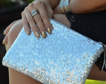 Personalized Bridesmaid Gift Idea for Her Monogram Gold Sequins Clutch Purse Women Pouch Makeup Cosmetic Bag Wedding Bride Party Big Size