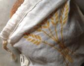 Organic Linen Drawstring  Bread Bag- Hand Screen Printed with Wheat Design - Cloth Bread Bag