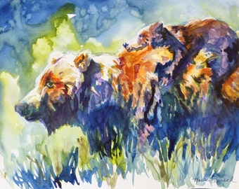 Orignal Bear Watercolor by Maure Bausch