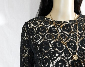 1940's Hand Taylored Black Gothic Floral Spider Web CROCHETED CROP SWEATER Size Small Medium one of a kind top