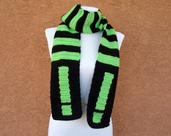 Exclamation Point Scarf - Lime Green and Black Striped Scarf - Green Scarf - Black Scarf - Grammar Scarf - Punk Scarf - Bright Scarf for Men