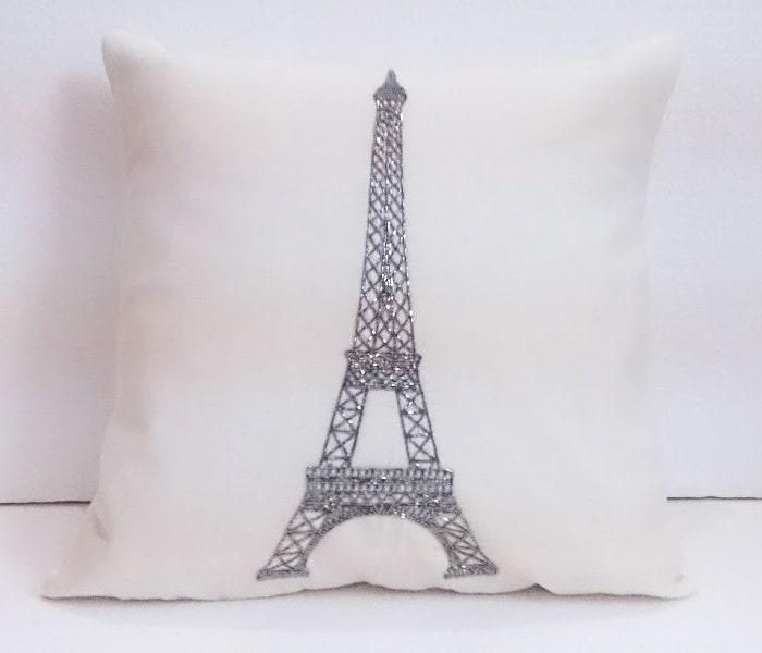 Decorative Pillows Eiffel Tower : beige off white paris pillow decorative pillow eiffel tower