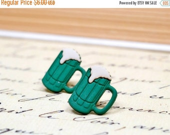 25% OFF SALE Dark Green Beer Earrings, Frosty Beer Mug Novelty Studs, Drinks, Cups, Drunk, Draft Pint, St Patricks Day Brew Limited Edition