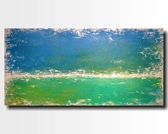 Large Abstract paintings - 24 X 48 -Art -by Artist JMJartstudio- -Wall art-wall decor -Breathless-Beach Painting