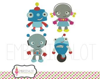 Robot embroidery design set. Geektacular robot machine embroidery. Fun geek embroidery for boys and awesome girls.