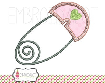 Nappy pin applique embroidery design. Cute Baby applique. Baby embroidery design in applique.