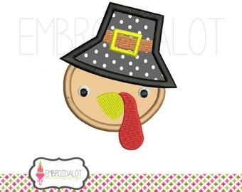 Pilgrim turkey applique embroidery design. Pilgrim applique embroidery design for thanksgiving. Cute fall applique.