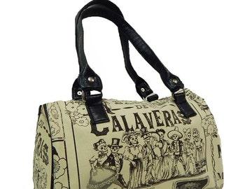 "USA HANDMADE Handbag Doctor bag Satchel Style ""Baile  De  Calaveras""   Pattern , Cotton Fabric, Bag Purse, NEW"