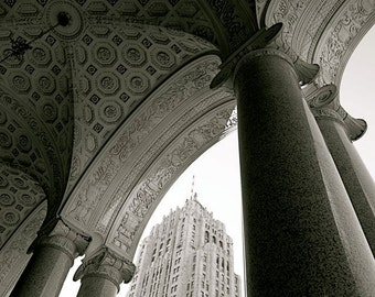 Detroit Fisher Building Tower Seen through Ornate Ceiling Arches Pillars 1920s Classical Architecture Old City B&W Photography Photo Print