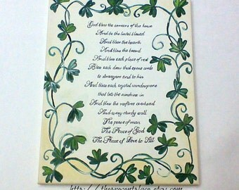traditional  Irish blessing for the home in white and cream with shamrocks,Irish blessing,shamrocks,Irish blessing painting,Irish wall art