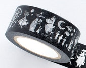 Moomin Black and White Classic Series Japanese Washi Masking Tape / Vintage 20 mm wide for scrapbooking, packaging