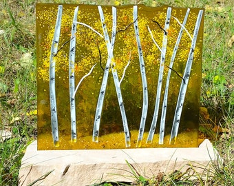 Aspen Fused Glass Panel - Gold/Fall Golds/Stone Base