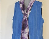Blue Large Denim VEST - Royal Blue Dyed Upcycled Graff Jeans Denim Vest - Adult Womens Size Large (44 chest)
