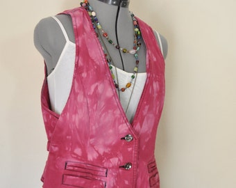 "Red Jrs. Large Denim VEST - Red Wine Dyed Upcycled Merona Fitted Denim Vest - Adult Womens Size Large (40"" chest)"