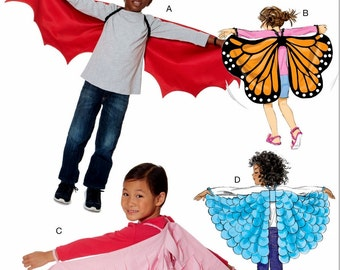 Kids' Costume Wings Pattern, Butterfly Wings Pattern, McCall's Sewing Pattern 7491