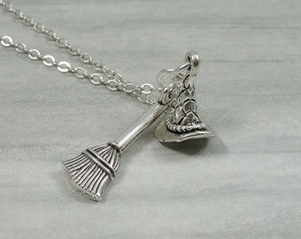 Witch's Hat and Broom Necklace, Silver Witches Hat and Broom Charm on a Silver Cable Chain