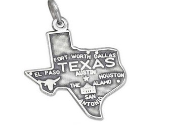 Texas Charm - Sterling Silver State of Texas Charm for Necklace or Bracelet