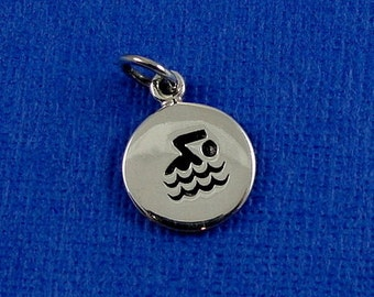 Swimming Symbol Charm - Sterling Silver Swimmer Disc Charm for Necklace or Bracelet