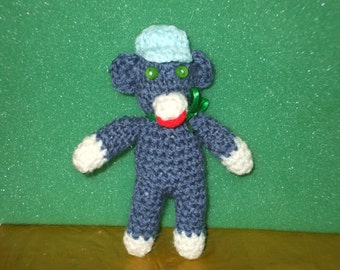 little blue sock monkey with baseball cap - shop closing on the 31st