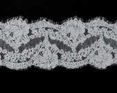 Wedding bridal chantilly alencon corded lace veil trimming scallop off white galloon floral pattern eyelash edges scalloped borders 005