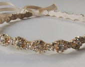 Ava Bridal Flower Girl Communion Swarovski Rhinestone Crystal Headpiece Headband Ribbon Gold Finish