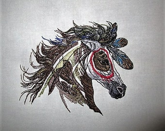 5 Mystic Warrior  Native Horses Embroidered Quilt Fabric Blocks