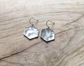 Antiqued Silver Hexagon Earrings
