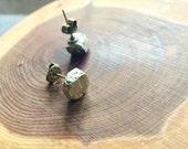 Pyrite Gemstone Nugget Stud Earrings