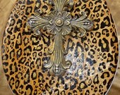 "SALE! ~ Ready to SHIP! / Handpainted LEOPARD Cheetah Toilet Seat  with Cross ~ 16"" Round Seat~ Ready to Ship"