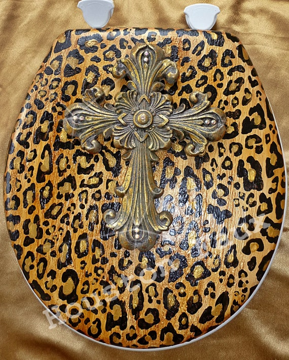 Items Similar To Bathroom Decor Toilet Seat Leopard Cheetah With Cross 16 Round Seat Ready