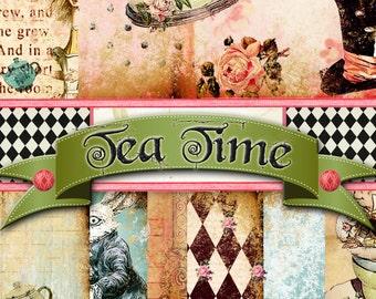 "Digital Paper - Digital Journal Kit ""Tea Time"" - Kit Paper Pack 1, Great for Scrapbooking, Journals, Card Making - Alice in Wonderland Theme"