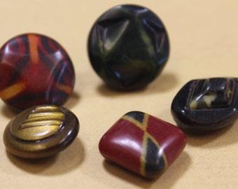 Celluloid Buttons Art Deco Celluloid Tight Top 5 Buttons 1940's Celluloid Button